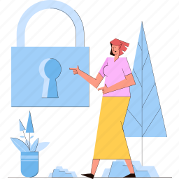 lock, privacy, security, protection, woman