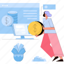 woman, finance, dollar, online, banking