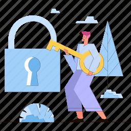 man, lock, protection, privacy, key