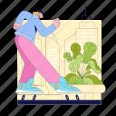woman, skating, skate, plant, city