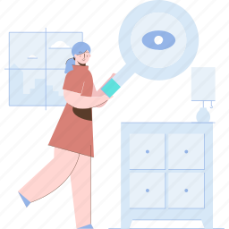 search, find, magnifier, view, drawers, woman