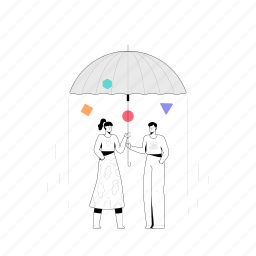 weather, man, woman, umbrella, raining, rain, forecast, protection, couple