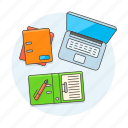 documents, notebook, laptop, work, scenes, folder, office, workspace, home, study icon