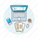 coffee, developer, diagram, home, laptop, office, paper, phone, scenes, study, work, workspace icon