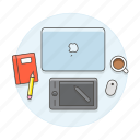 coffee, designer, graphic, home, laptop, mac, notebook, office, scenes, study, tablet, wacom, work, workspace icon