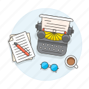 coffee, glasses, home, office, pen, retro, scenes, sheet, study, typewriter, vintage, work, workspace icon