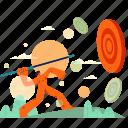 throw, target, man, bullseye