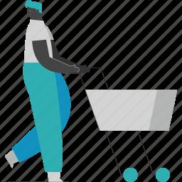 man, shopping, ecommerce, cart