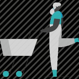 woman, shopping, ecommerce, cart
