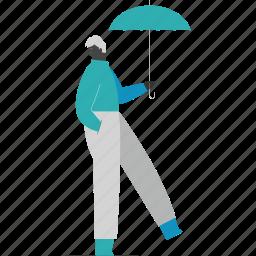 man, umbrella, protection, safety
