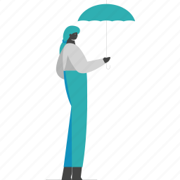 woman, umbrella, protection, safety
