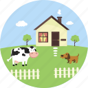farm, pet, village, agriculture, nature, farmhouse, cow