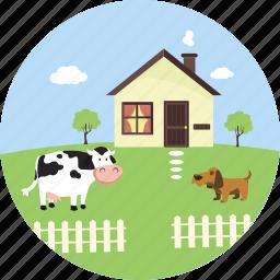 agriculture, cow, farm, farmhouse, nature, pet, village icon