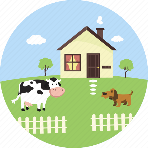 agriculture, cow, farm, farmhouse, nature, pet, village icon