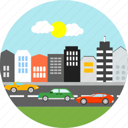 building, buildings, cars, city, estate, road, state icon