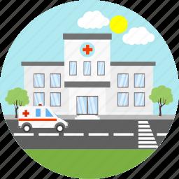 ambulance, clinic, health, health care, healthcare, hospital, medical icon