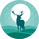alone, animal, animals, deer, night, reindeer, wild icon