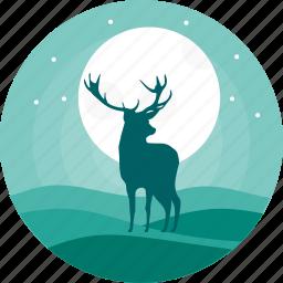alone, animal, animals, deer, night, reindeer, wild icon