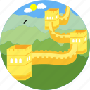 wall of china, monuments, wall, beautiful wall, bird, great wall of china, monument icon