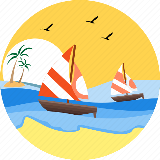 boat, sail boat, sailboat, sailing, sea, watercraft, wind surfing icon