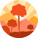 eco, ecology, forest, sun, sunrise, tree, trees icon