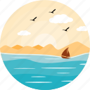 boat, boating, evening, nature, sailing, sea, ship icon
