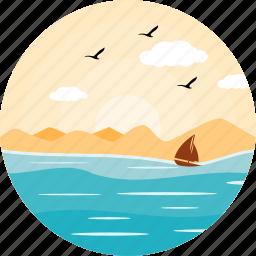 boat, boating, evening, nature, sailing, sea, ship icon
