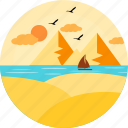 birds, hill, hills, mountain, nature, sea, water icon