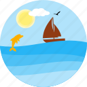 boat, boating, dolfin, river, sea, ship, travel icon