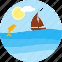 boating, boat, dolfin, sea, ship, travel, river