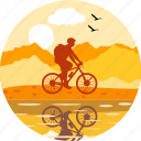 adventure, bicycle, cycle, cycling, cyclist, shadow, sport icon