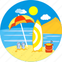 beach, relaxation, river rafting, summer, surf boarding, surfboard, umbrella icon