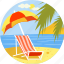 beach, relax, relaxation, sea, sun, sunbathe, vacations icon