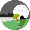 park, city, nature, tree, moon, stars, night
