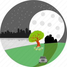 city, moon, nature, night, park, stars, tree icon