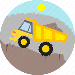 construction, diggers, equipment, machine, repair, transportation, truck icon