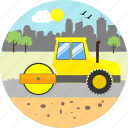 bulldozer, construction, crane, equipment, machine, repair, road roller icon