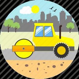 bulldozer, construction, crane, equipment, machine, repair, road roller icon