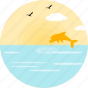 birds, cloud, dolfin, fish, marine, sea, sparrows icon