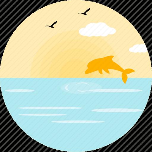 birds, cloud, dolfin, fish, marine, sea, sparrows icon