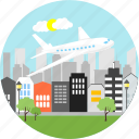 aeroplane, airplane, aviation, city, flight, plane, travel icon