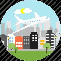 aeroplane, airplane, aviation, city, flight, plane, travel icon
