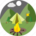 camp fire, survival, outdoor, bonfire, bbq, picnic, moon