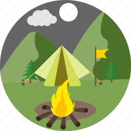 bbq, bonfire, camp fire, moon, outdoor, picnic, survival icon