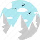 mountains, hill, landscape, clouds, hills, sparrows, birds icon