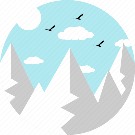 birds, clouds, hill, hills, landscape, mountains, sparrows icon