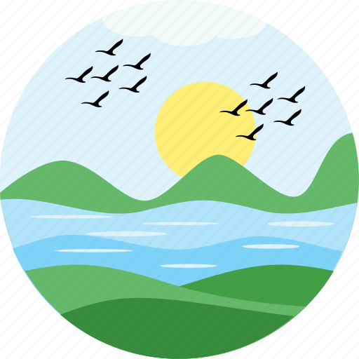 birds, ecology, morning, nature, river, sunrise, view icon