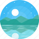 blue sky, lake, moon, night, river, sky, stars icon
