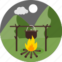 camp, cooking, moon, night, outdoor, outdoors, picnic icon