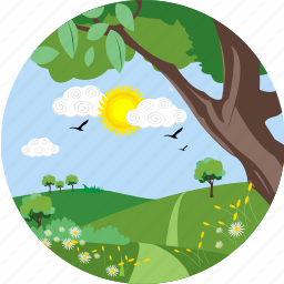 eco, ecology, environment, greenery, nature, park, sun icon